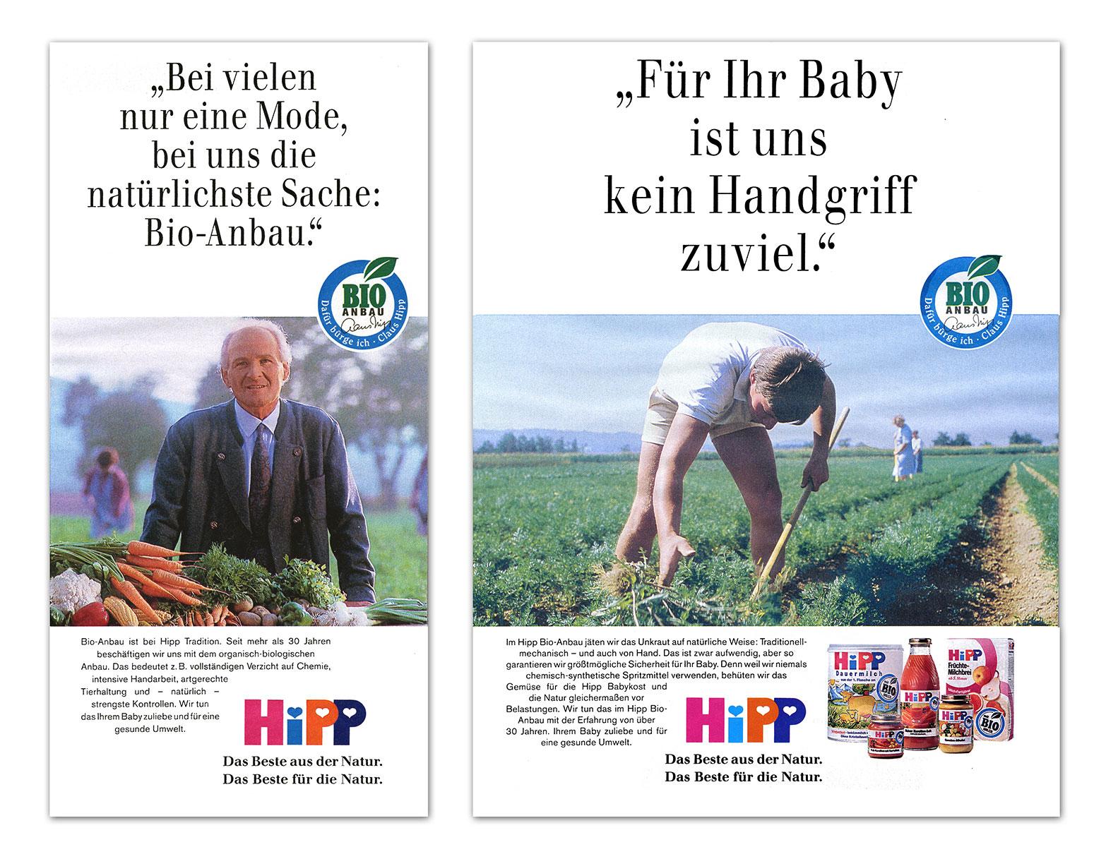 Hipp Bio-Kampagne, Anzeigenmotiv mit Vorschaltseite