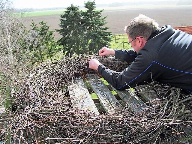 Ein neuer Kranz wird auf einer Holzunterlage befestigt ...