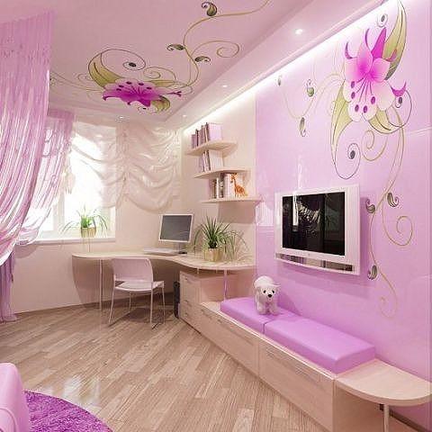 Натяжные потолки в интерьере комнат, фото Дизайн
