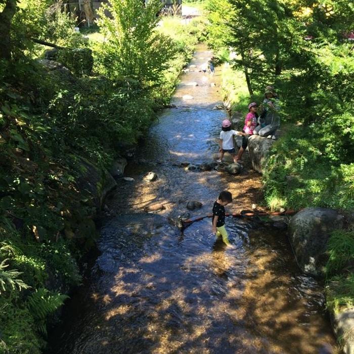 小さなお子様も川遊び 川魚つかみ取り