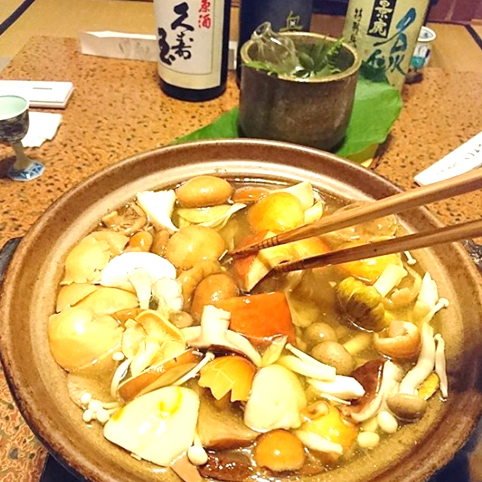 秋神温泉の自慢の天然きのこ料理