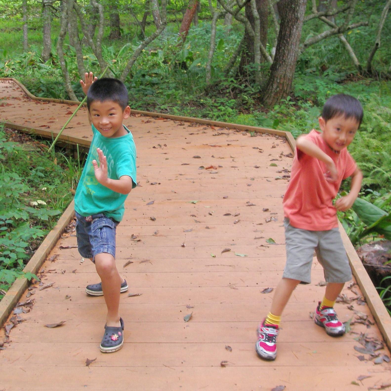 遊歩道は子供が全力で走っても、はしゃいでも大丈夫