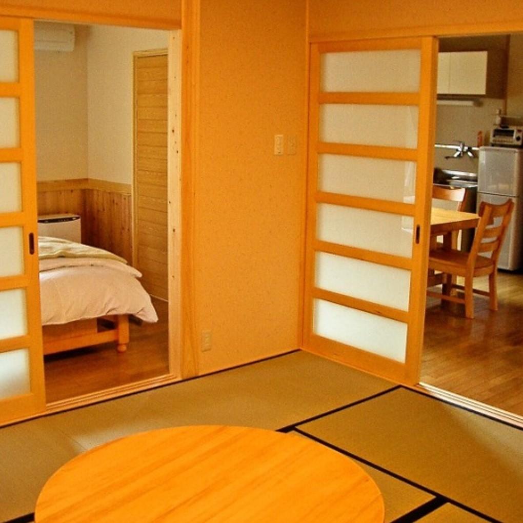 寝室とリラックススペースとキッチンが別れています