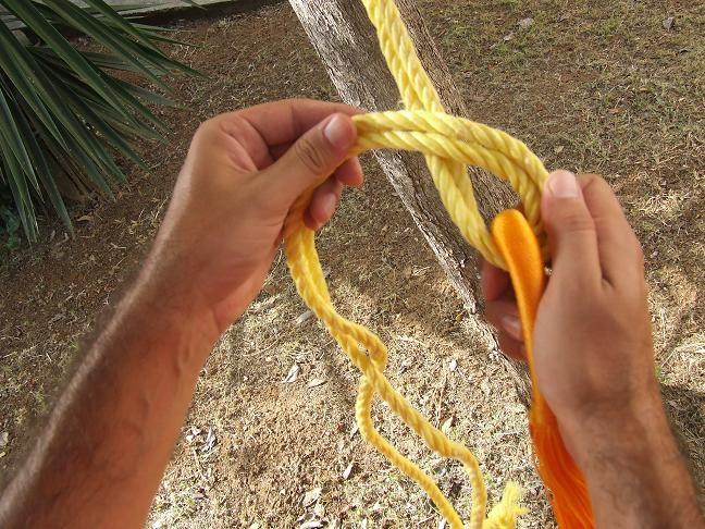 ajustez la hauteur pour le hamac (pensez à le fixer toujours un peu plus haut)