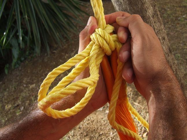 pour défaire le noeuf il suffira de tirer les extrémités de la corde