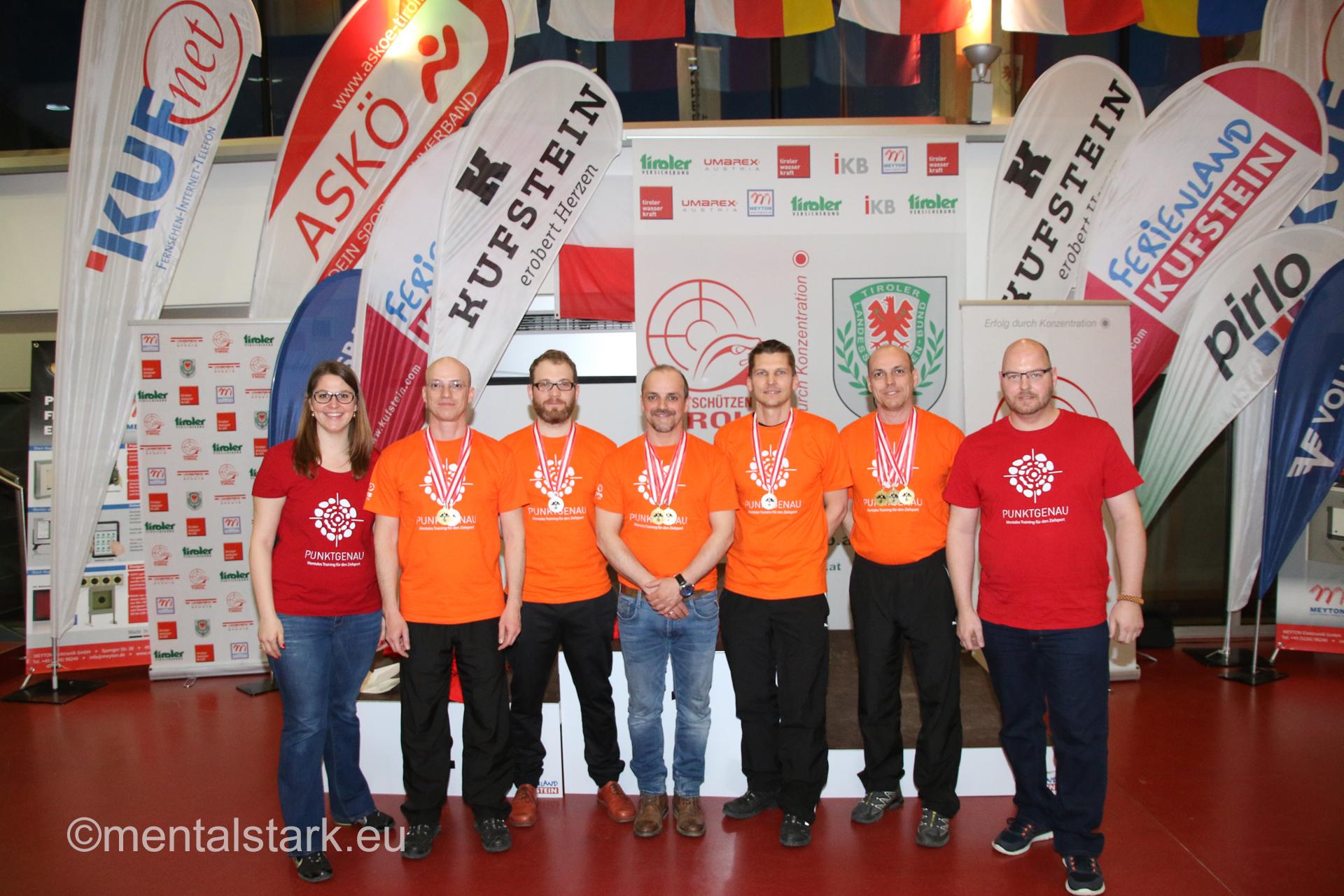 Schützen, die wir mental stärkten: Herbert Sailer, David Gstir, Willy Sailer, Alex Wutte und Rudi Sailer