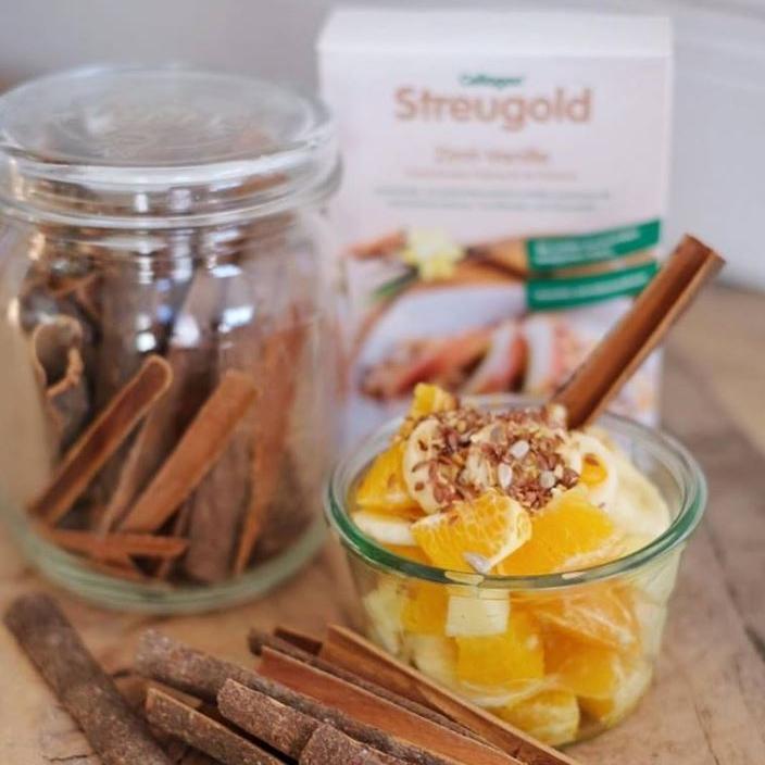 Das unverwechselbare Aroma der Geschmackskombination Cellagon Streugold Zimt-Vanille ist die Basis für ein gemütlich-süßes Frühstück.