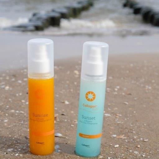 Die Cellagon-Produkte der Linie Sun Care, Sonnenschutz- und Pflegespry sorgen für ein wohliges Gefühl vor, während und nach einem entspannten Sonnenbad.