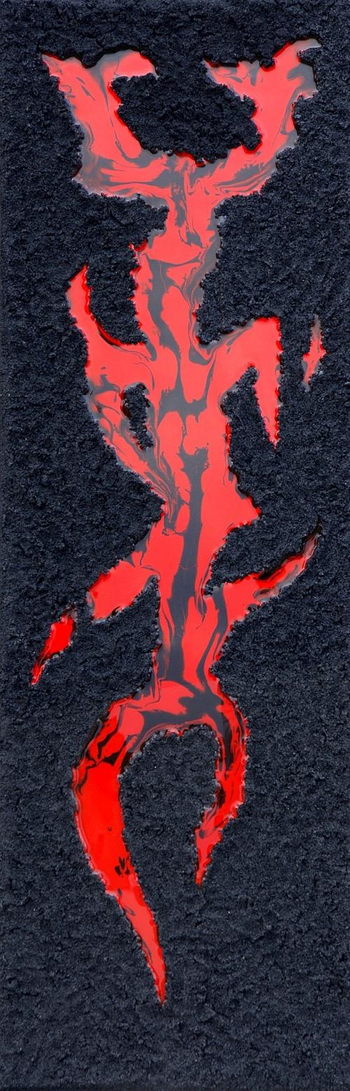 """Alain Mandon  """"Bali de nuit""""  Résine rouge et sable noir  40 x 120 cm  toile sur châssis"""