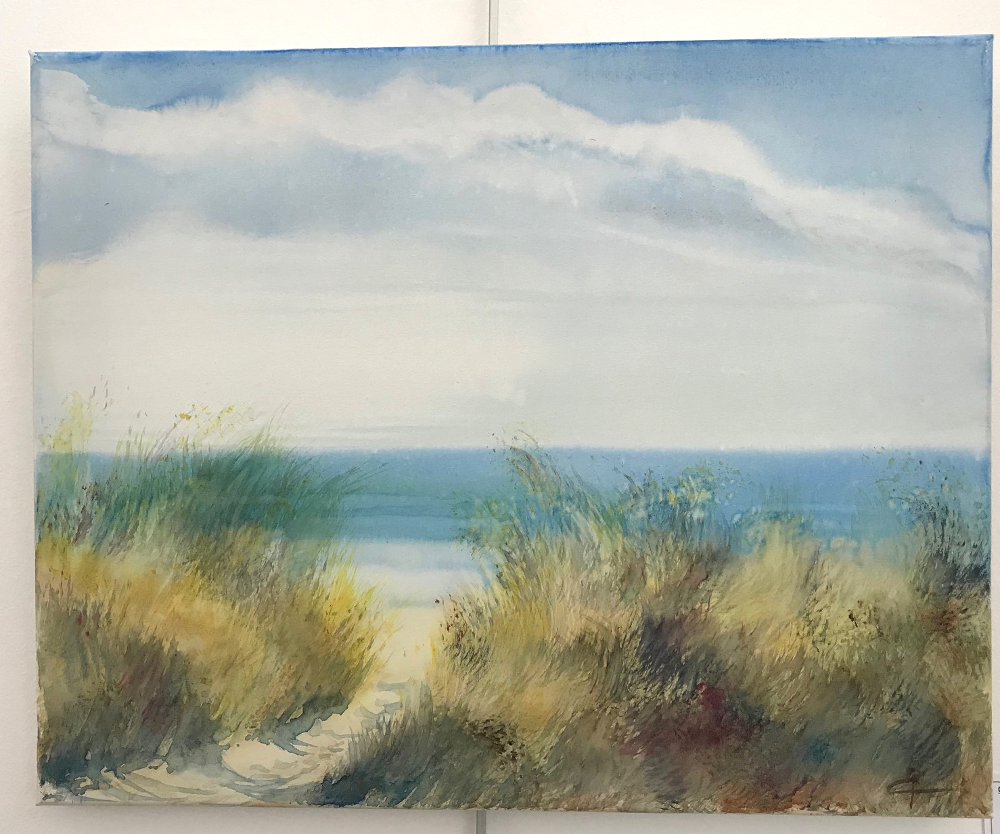 """""""Le jeu du vent"""", Caroline Raillard Toile originale d'une peinture à l'aquarelle Format 6F : 33 x 41 cm Prix de la toile originale : 80€ (vendue avec facture et certificat d'authenticité)"""
