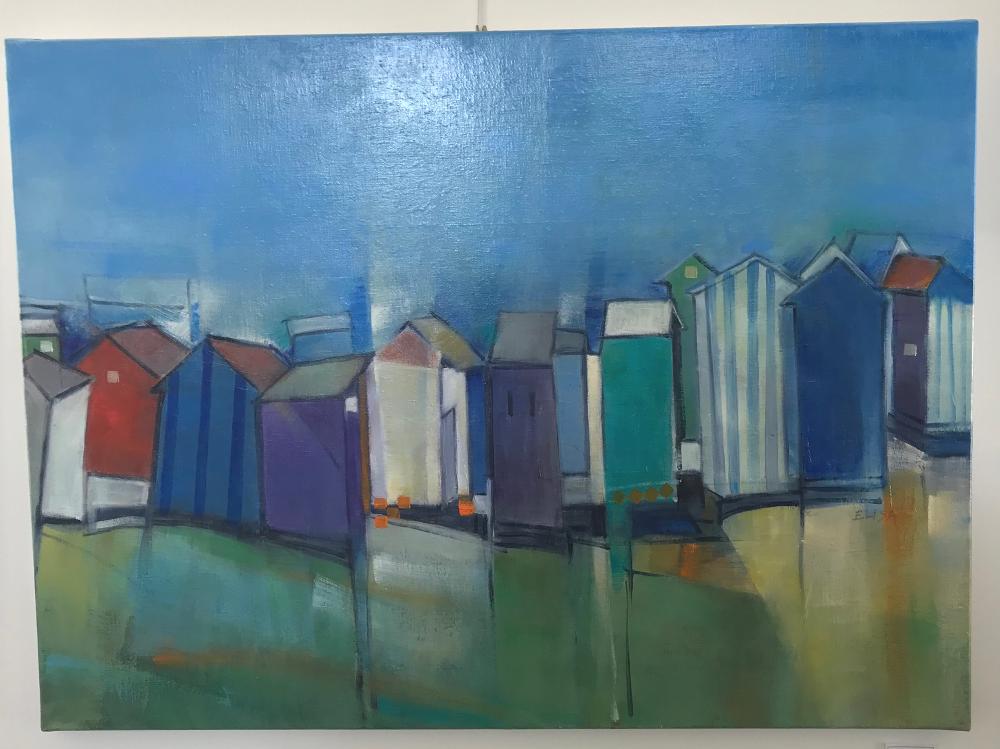 """""""CABINES DE PLAGE"""", d'Élisa Montreuil.  Peinture à l'huile originale sur toile tendue sur châssis. Format 25P : 81 x 60 cm Prix de la toile : 550€ (vendue avec facture et certificat d'authenticité)"""