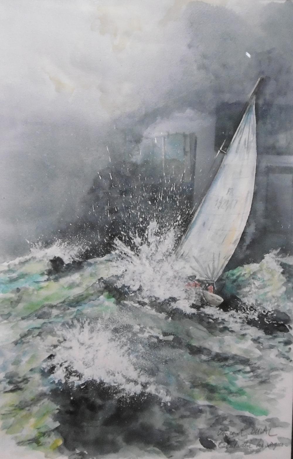 Vincent Duval   Escalader les vagues   aquarelle sur papier torchon  format demi raisin