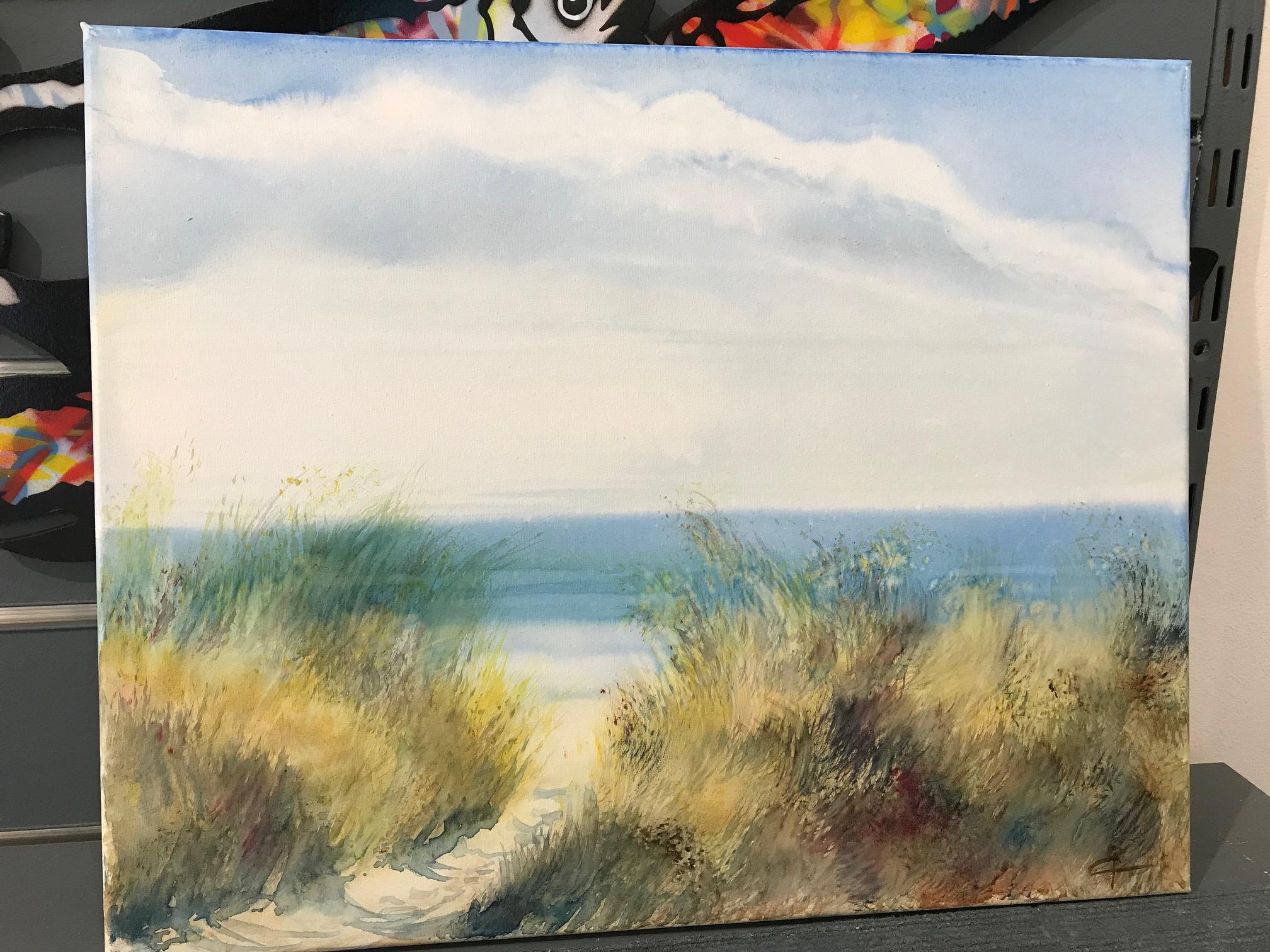 Caroline Raillard Le jeu du vent Aquarelle sur toile 6F 33x41cm galerie du 1er Oléron