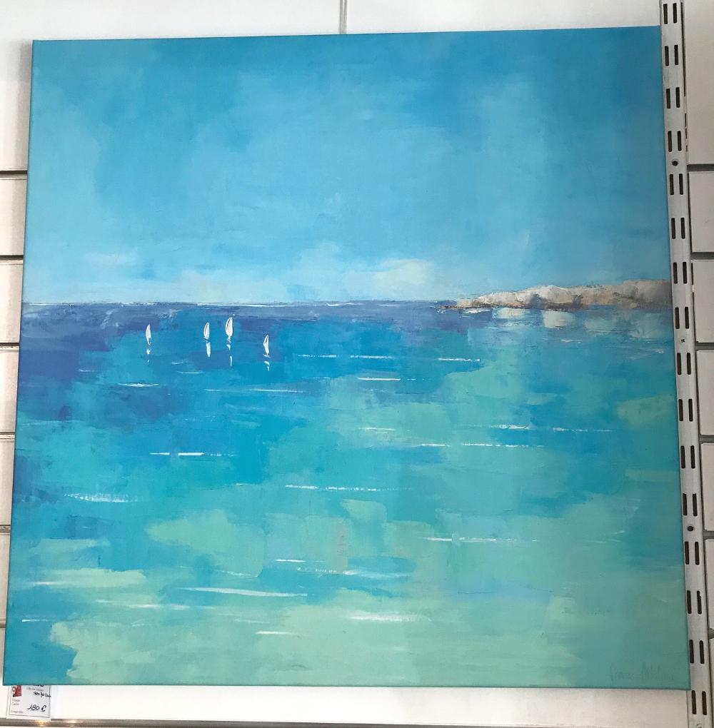 """""""BLEU"""", de Régine Pivier-Attolini Reproduction d'une peinture imprimée sur toile tendue sur châssis. Dimensions : 70 x 70 cm Prix : 180€"""