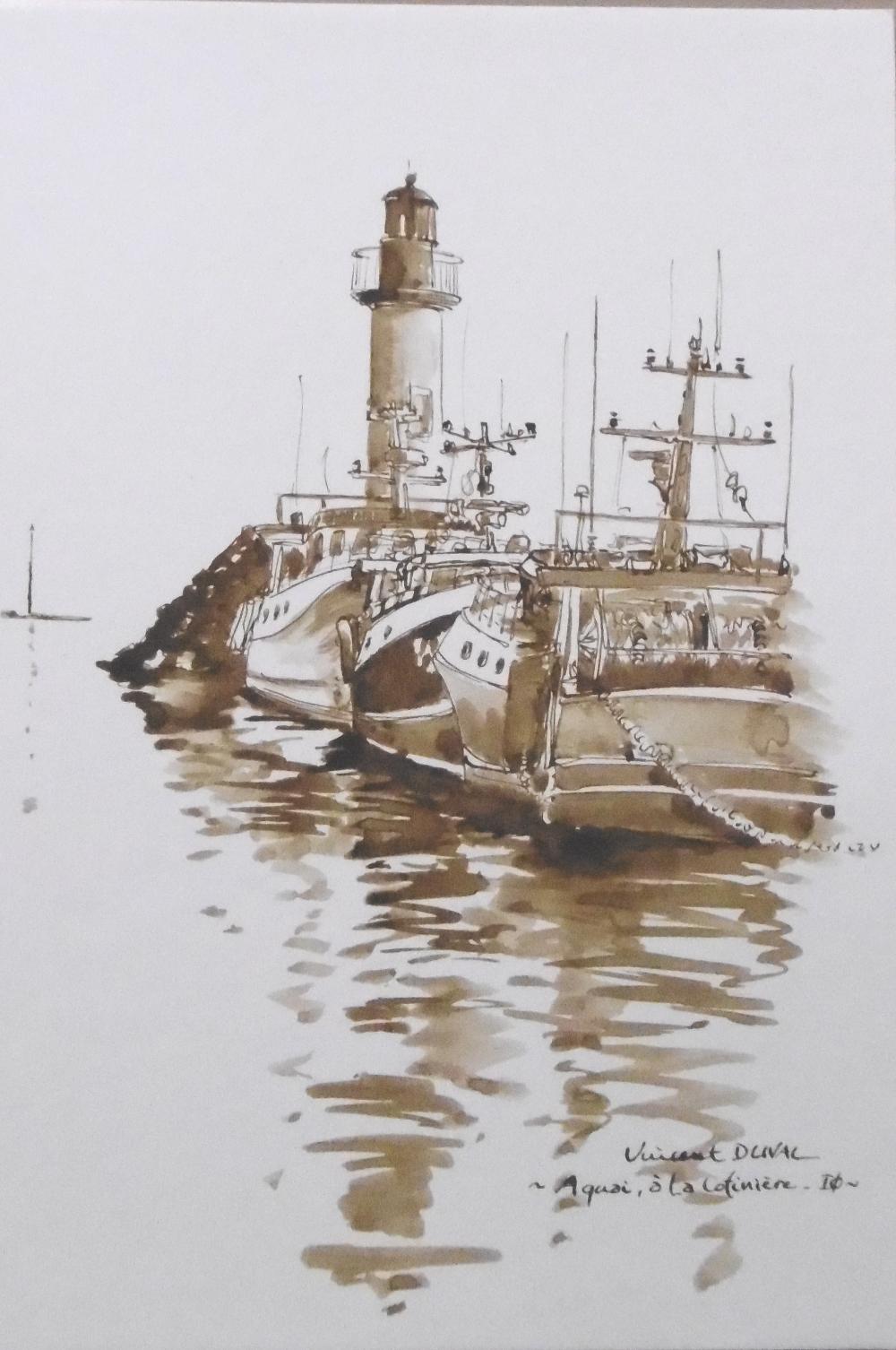 Vincent Duval   A quai à la Cotinière   lavis sépia   20 x 30 cm