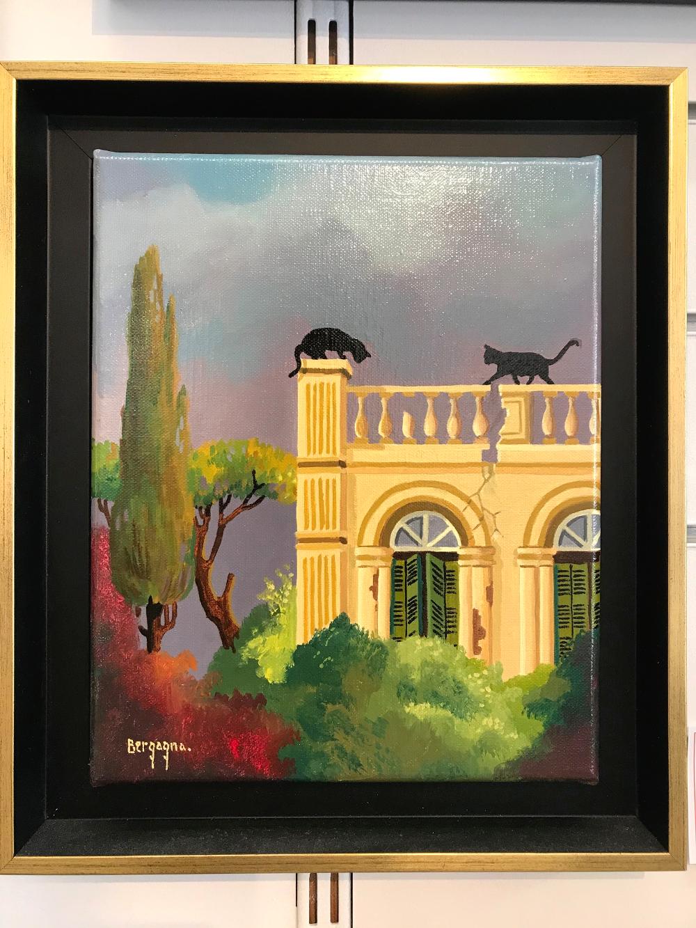 """""""Rencontre au sommet"""" Daniel BERGAGNA peinture originale à l'huile sur toile format 29 x 34 cm 2019 prix de la toile seule 480€ prix du cadre 70€ l'ensemble 550€"""