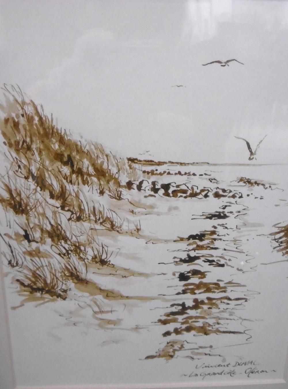 Vincent Duval   La Grand'côte Oléron   lavis sépia sur papier torchon  20 x 30 cm