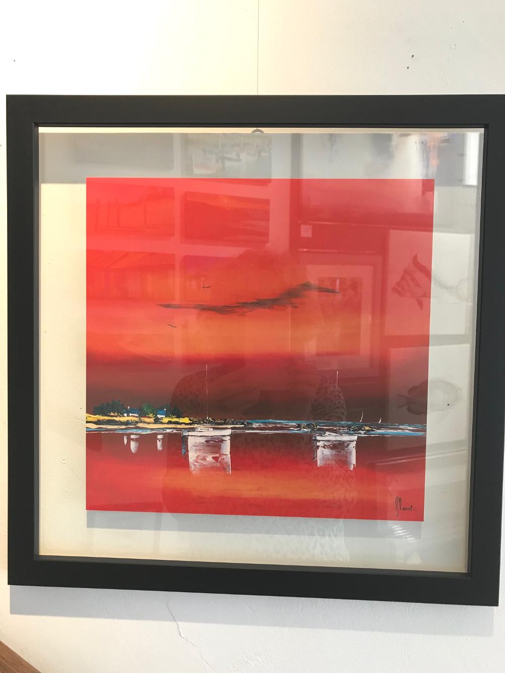 « Crépuscule I », de Frédéric FLANET Affiche encadrée entre 2 verres, aux dimensions extérieures  43 x 43 cm A noter ! Ne voyage pas par transporteur Prix de l'affiche (30x 30cm) : 11,50€ Prix du cadre :  45,50€ L'ensemble : 57€