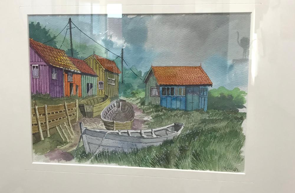 Roscan barque échouée aquarelle Galerie du 1er Oléron
