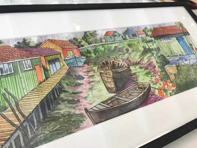 Roscan le chenal aux trémières aquarelle Galerie du 1er Oléron