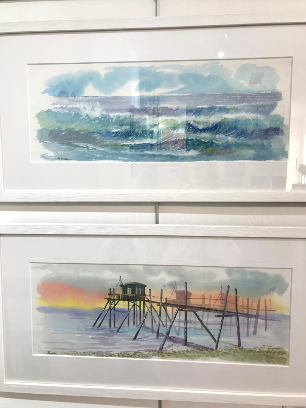 Roscan la vague et les trois frères aquarelles Galerie du 1er Oléron