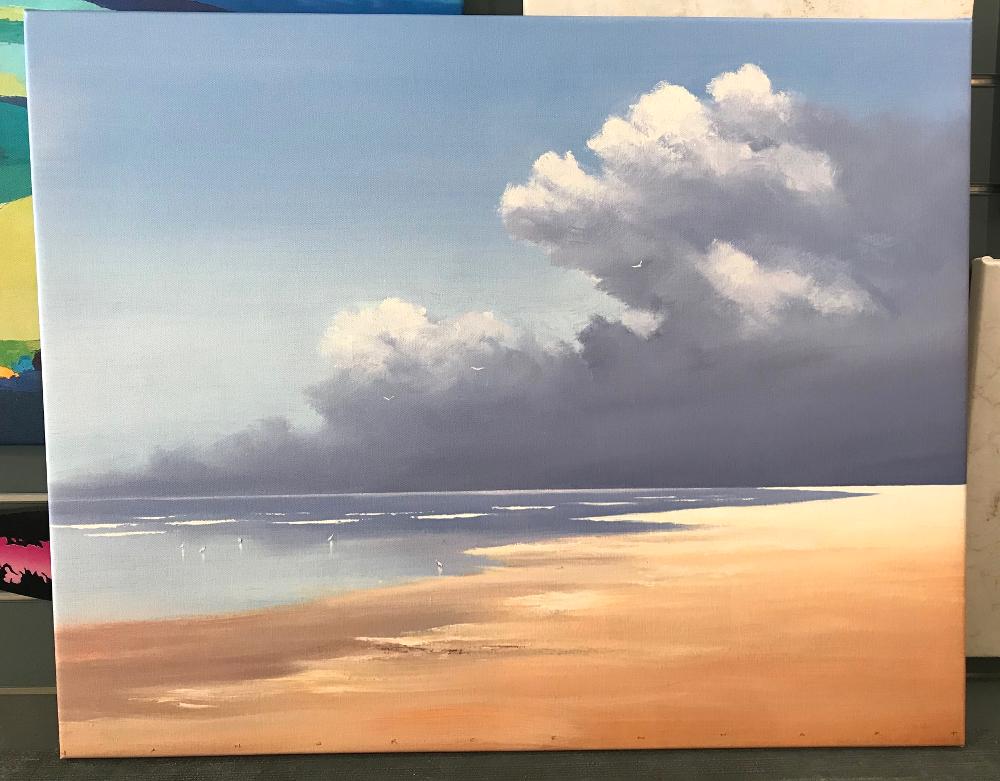 """""""BIRDS ON THE BEACH"""", de Jan Groenhart Reproduction d'une peinture originale imprimée sur toile tendue sur châssis. Dimensions : 64 x 80 cm Prix : 190€"""