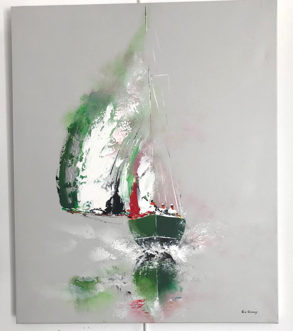 """""""Le bateau vert"""", Gérard de Courcy Peinture originale à l'acrylique sur toile Format 20F : 60 x 73 cm Prix : 550€ (vendue avec facture et certificat d'authenticité)"""