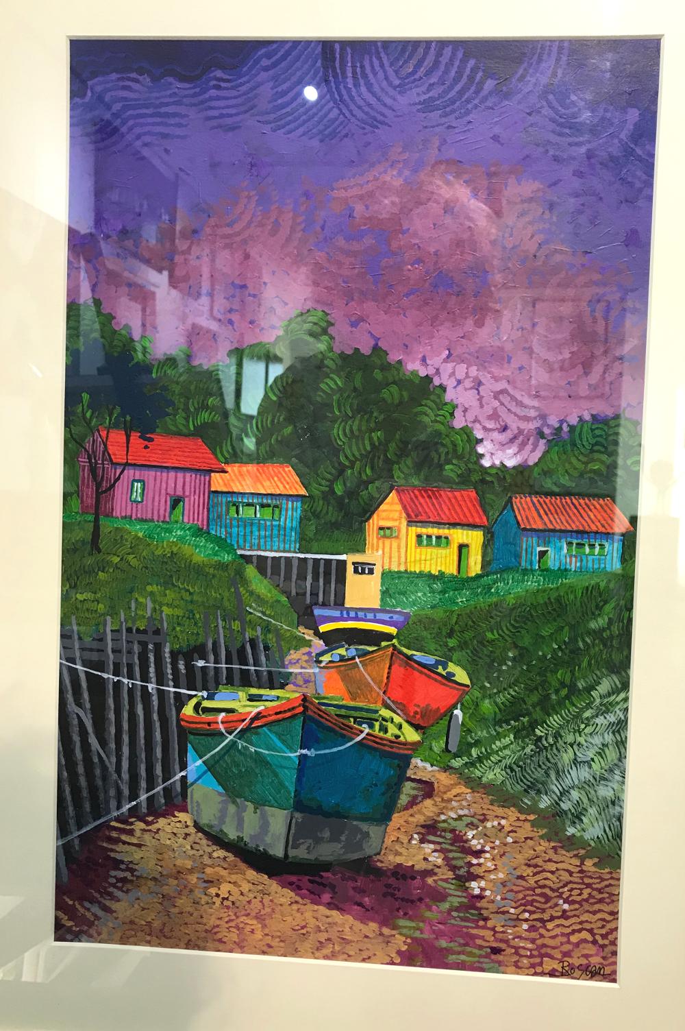 Roscan le chenal violet acrylique Galerie du 1er Oléron