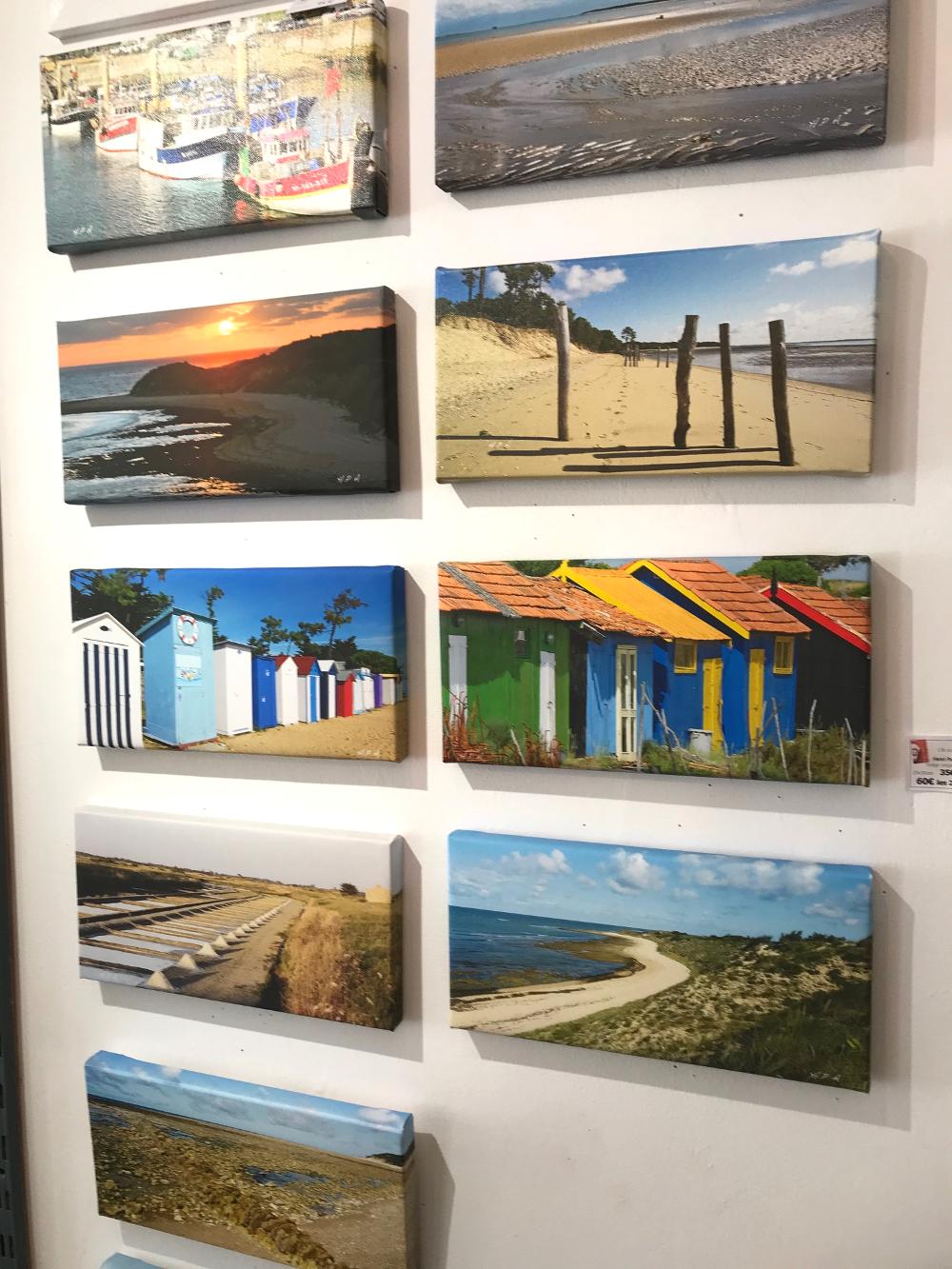 Clichés originaux sur toile, de vues de l'île d'Oléron, d'Henri Paul Arnaud. Petites toiles au format 15 x 30 cm, imprimées par le photographe et resignées au verso. Prix : 35€ l'une. 60€ par 2
