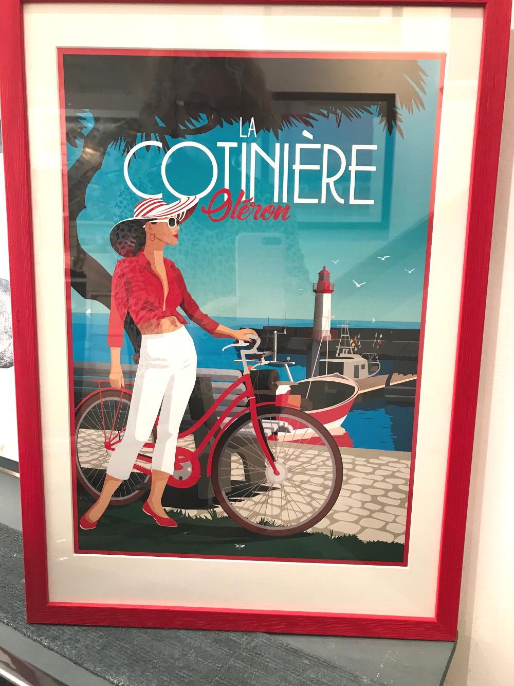 « La Cotinière », Doz Affiche encadrée en gael 20 rouge Dimensions extérieures 38 x 53 cm Affiche dim. 29,7 x 42 cm : 15€ Encadrement PP : 42,50€ Ensemble : 57,50€