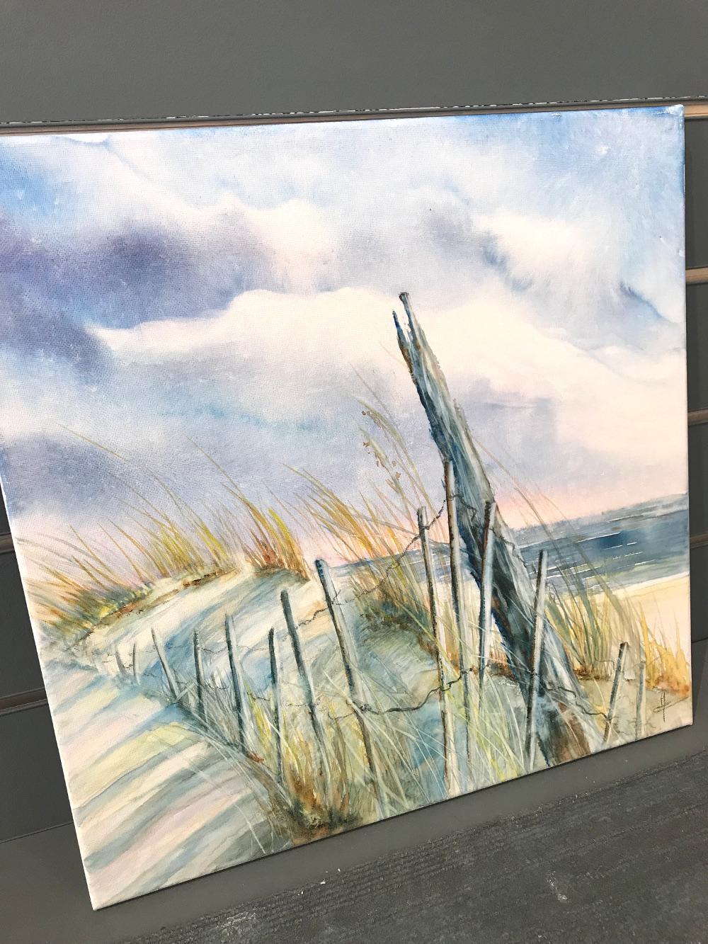 Caroline Raillard Bleu d'orage Aquarelle sur toile 40x40cm galerie du 1er oléron
