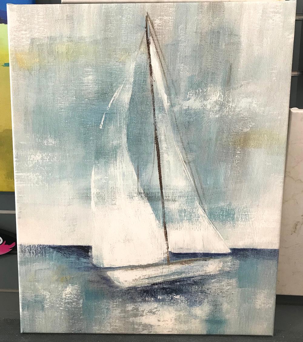 """""""Come sailing"""", Nan Reproduction d'une peinture de NAN, imprimée sur toile et tendue sur châssis beaux arts Dimensions 50 x 62 cm Prix de la toile : 180€"""