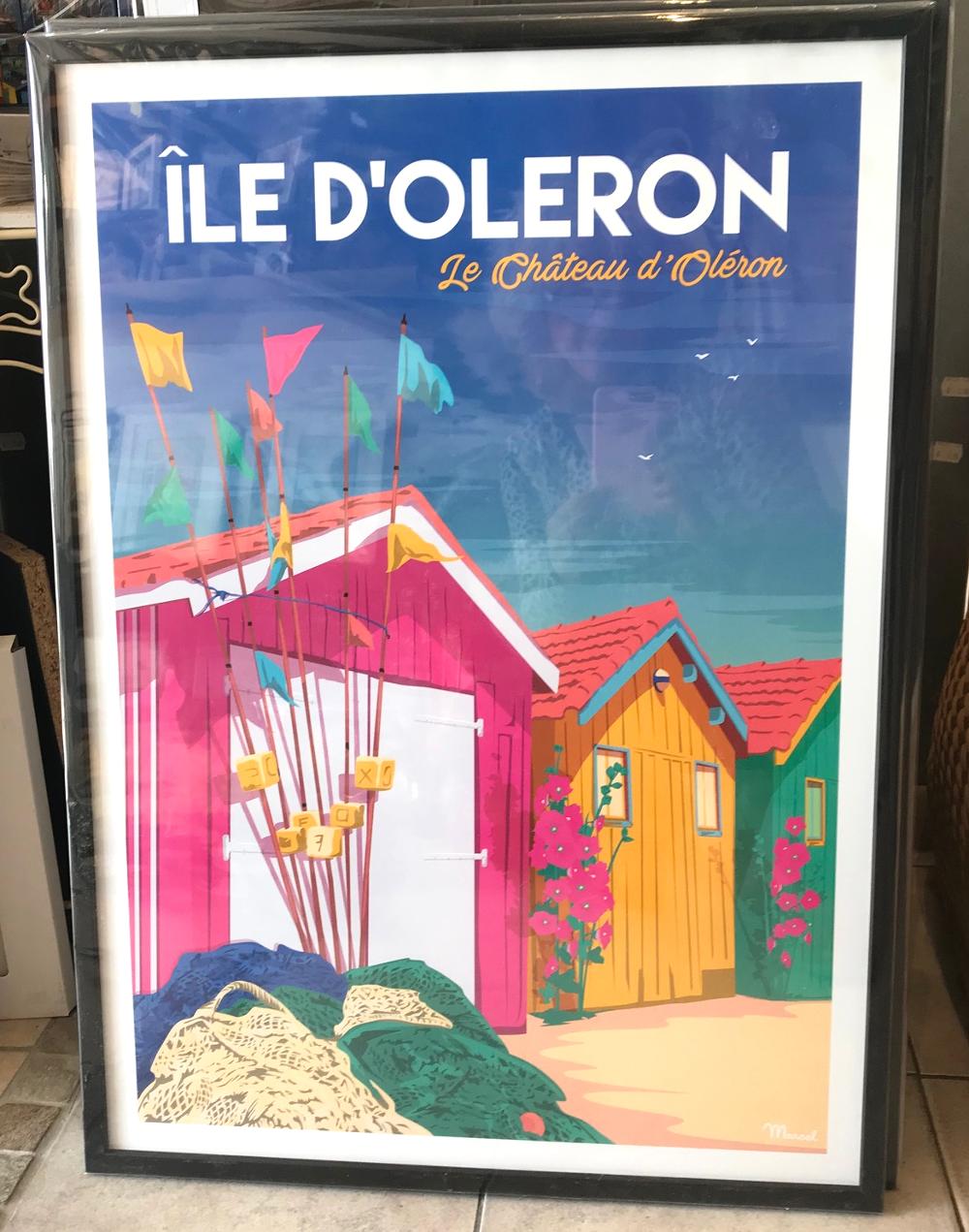 """""""Cabanes du Château d'Oléron"""", Marcel Affiche encadrée, dimensions extérieures : 53 x 73 cm Prix de l'affiche : 25€ Prix du cadre gael 20 anthracite : 39,80€ L'ensemble : 64,80€"""