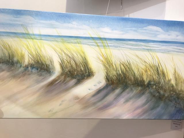 Caroline Raillard  Avant la plage Aquarelle sur toile 40x80cm galerie du 1er Oléron