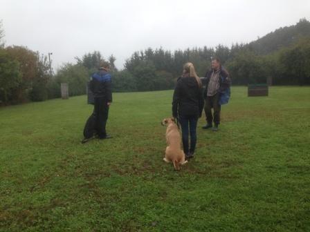 Karl mit Elvis, Janina mit Hella (Blindenhund) bei der Anmeldung zur BH