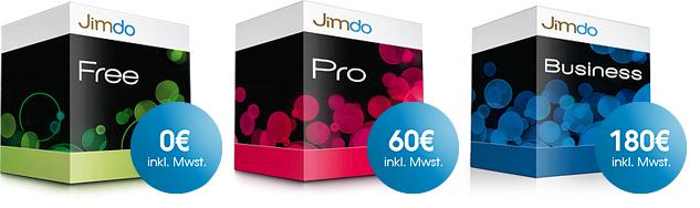 Jimdo Pakete | JimdoFree, JimdoPro, JimdoBusiness