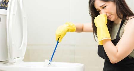 Rand der Toilette reinigen, wenn sie stinkt