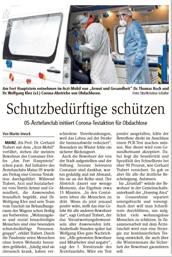 Ärztefanclub Mainz 05 e.V. aktiv bei Corona-Tests - Obdachlose im Check zu COVID19 durch Ärzte des ÄFC.       >>>       Hier unsere Mitglieder Dr. Thomas Koch, Prof. Trabert, Matze Maurer und 1. Vorsitzender San.Rat Dr. Klee im Einsatz