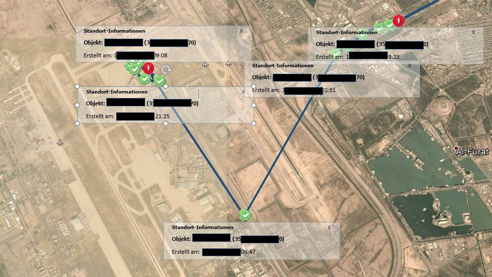 Route tracking: Baghdad Airport, Iraq
