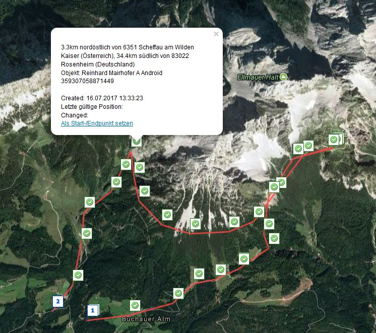 Route tracking:  Alps, Wilder Kaiser (Tyrol)