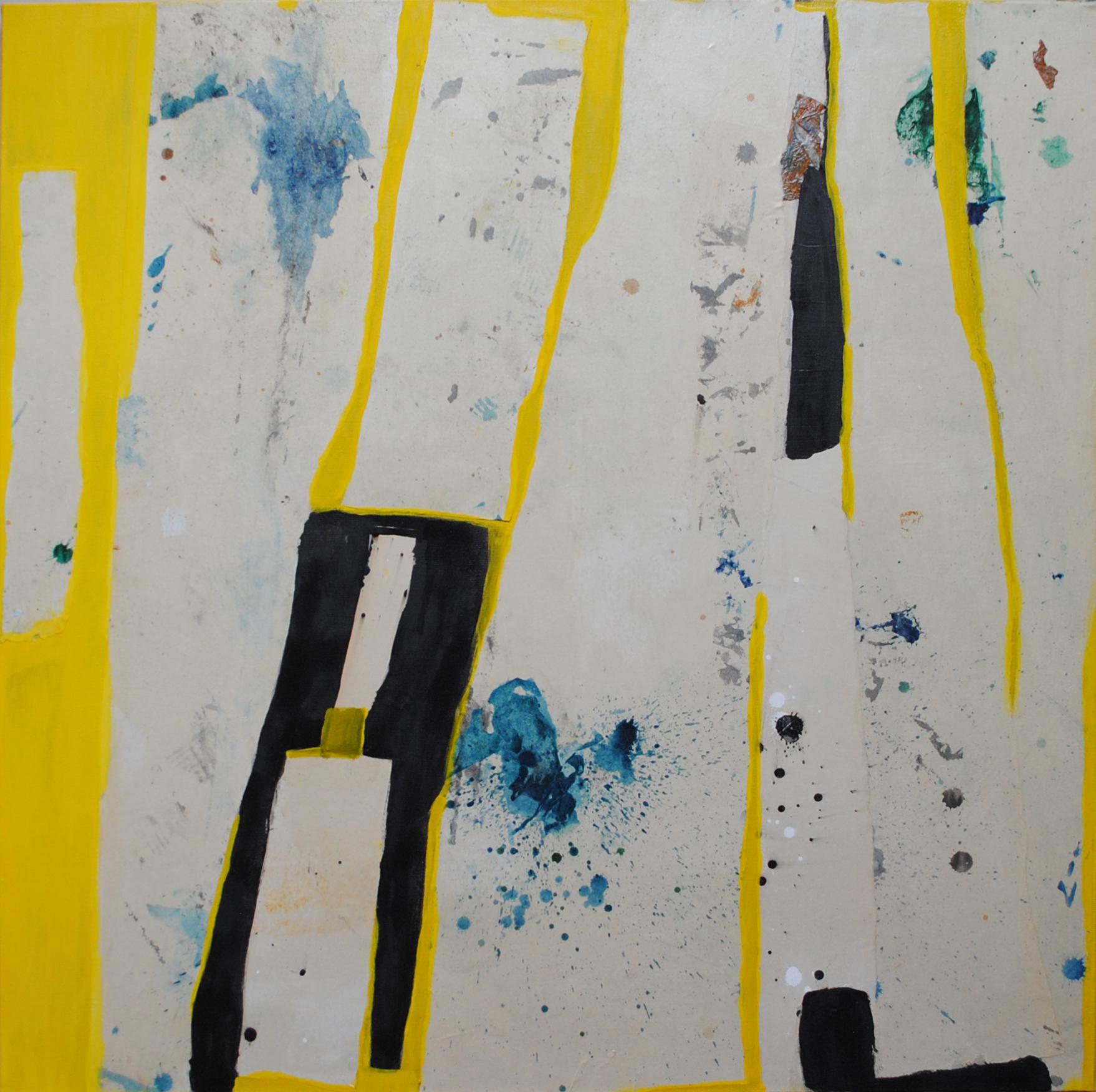 La ligne jaune 80x80 cm papiers collés sur toile de lin tempera 2018 VENDU
