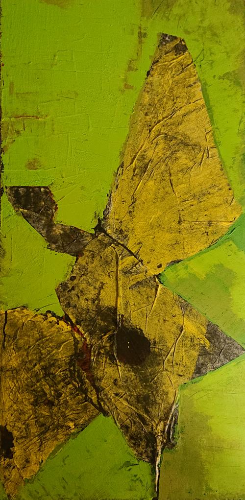 Le Grand Oiseau Jaune 80x40 cm  papier de soie pigment  sur bois 2016