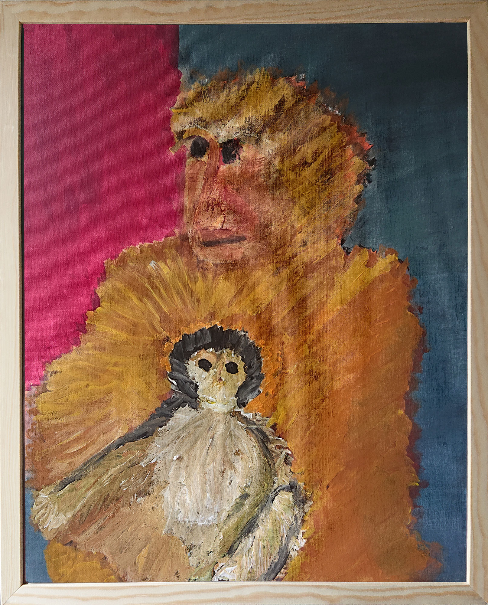 Macaques de Barbarie 2 50x40 cm acrylique sur carton entoilé 2019