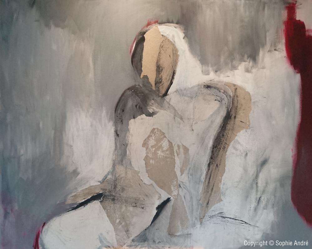 Le Témoin silencieux - 1m30 x 1m62 cm 2018 Papier kraft arcylique sur toile de lin bords blanc 2018