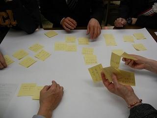 付箋に書いた課題を模造紙に貼って整理する