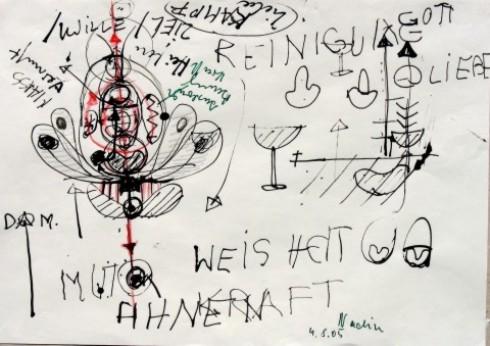 Zeichnung während des Arbeitsprozesses zum TATTOO-KRAFTZEICHEN, 2005, Tusche auf Papier