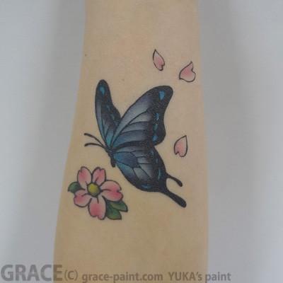 フェイクタトゥー,ボディーペイント,蝶