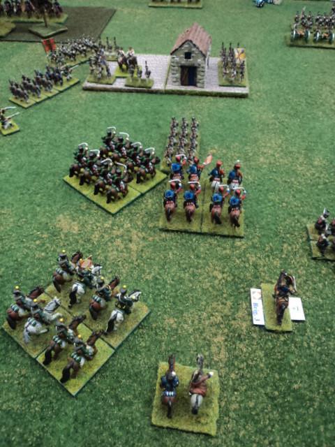 Loris ha ordinato a Stefano di impiegare la cavalleria francese a destra del villaggio. Un battaglione di fanteria russa viene sorpreso dalla cavalleria...Sarà distrutto!