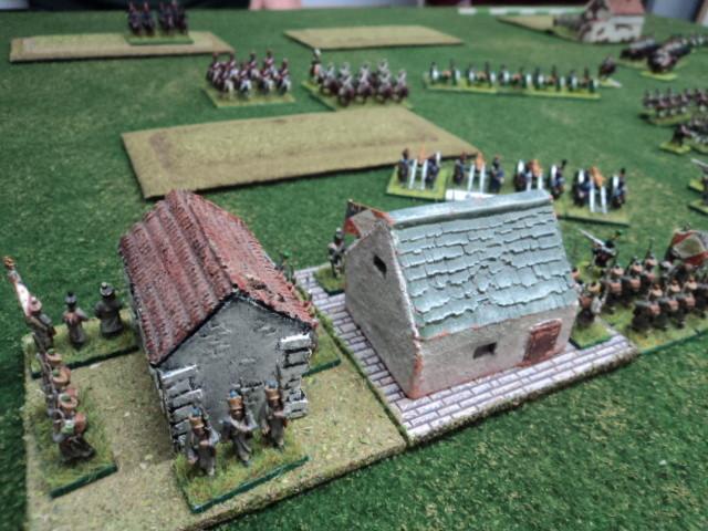 Veduta del villaggio (obiettivo difensivo francese) presidiato dalla fanteria francese di Luigi.
