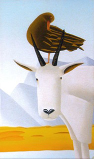 "Jain Tarnower, ""Oystercatcher and the Mountain Goat,"" oil on canvas on panel, 40 x 24 inches, SOLD"